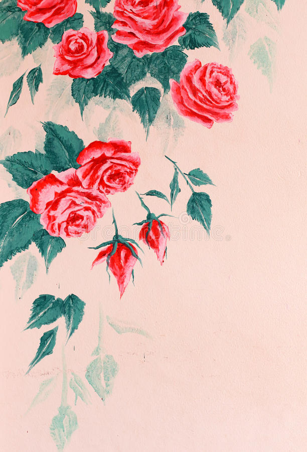 Free Wall With Painting Rose Royalty Free Stock Image - 44867716