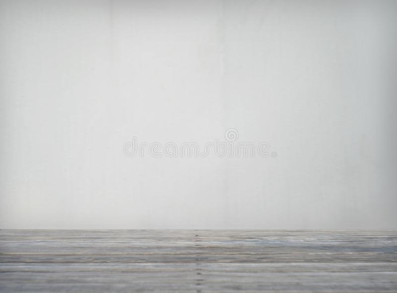 Wall of wooden table in front of abstract blurred background royalty free stock photography