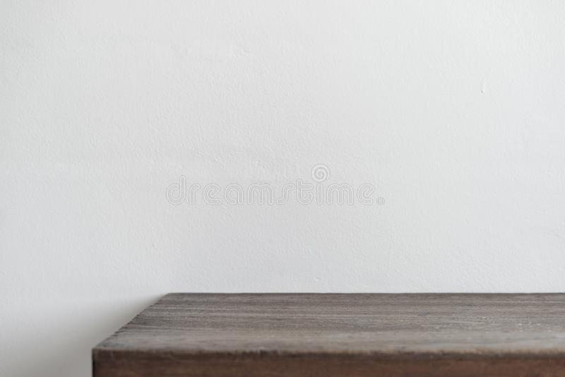 Wall of wooden table in front of background stock photo