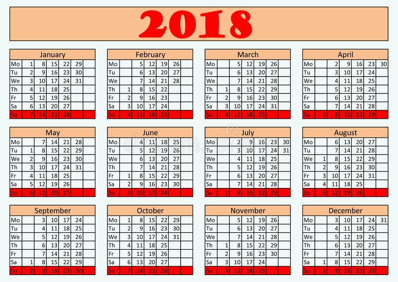 Wall year calendar 2018 for office. royalty free stock photos