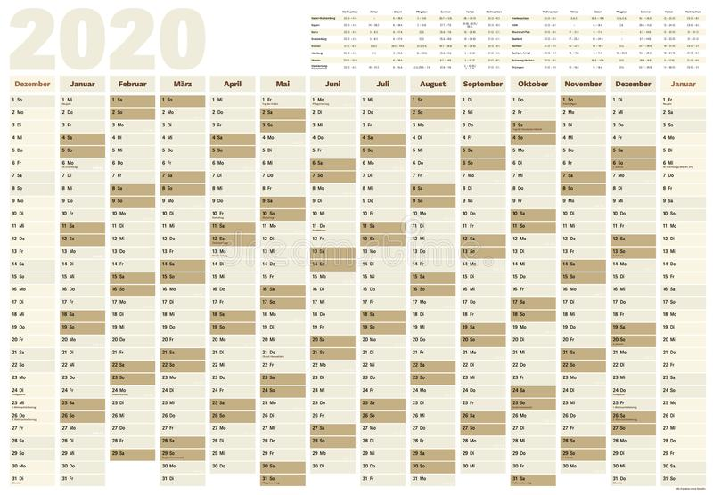 Wall year planner or calendar for year 2020 with German holidays and school vacation dates stock illustration
