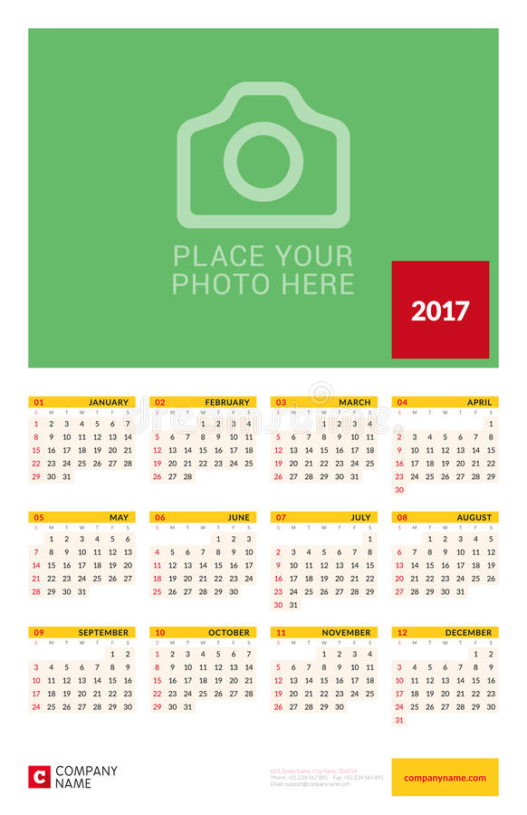 Wall Yearly Calendar Poster For 2017 Year Vector Design Print