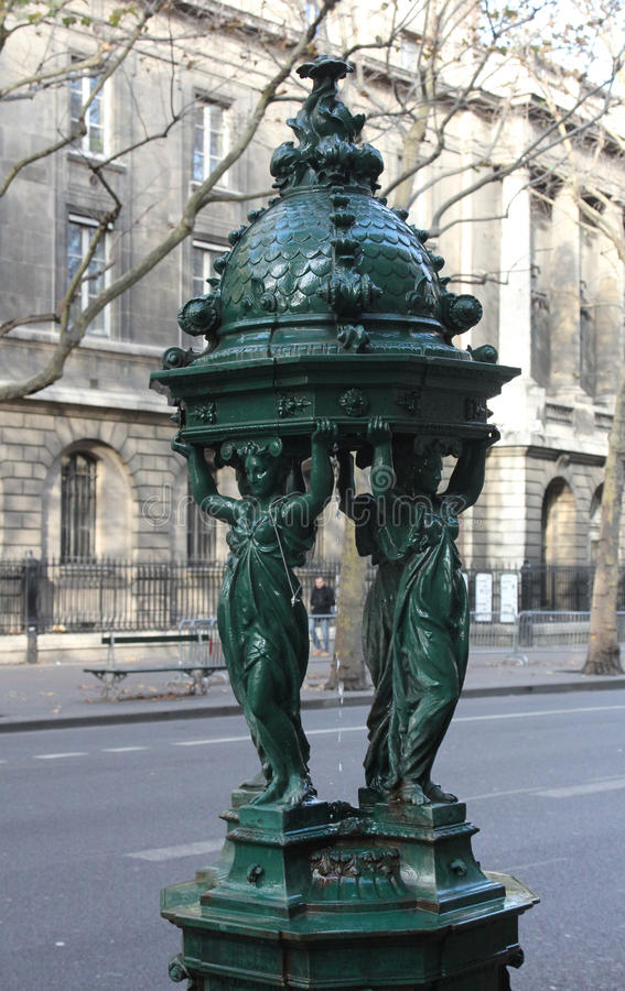 Wallace fountain, Paris. Wallace fountain, Famous Wallace public drinking fountain 1872 in Paris stock images