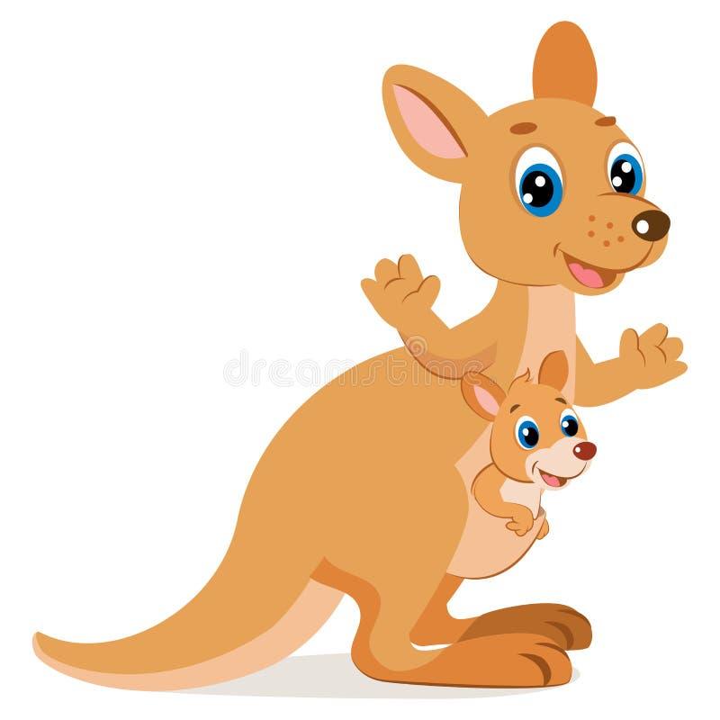 Wallaroo spotkanie Kreskówek zwierzęta wektorowi Macierzysty kangur Z Jej Małym Ślicznym dzieckiem royalty ilustracja