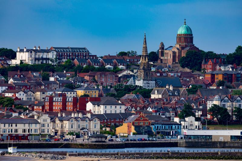 Wallasey England Coastal Shoreline. View from the water of the city of Wallasey England royalty free stock image