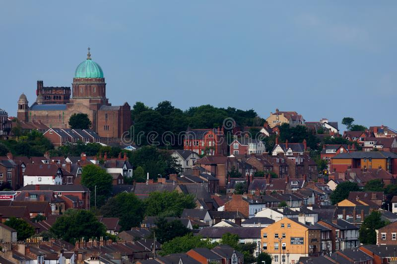 Wallasey England Coastal View. View from the water of the coastline city of Wallasey England stock image