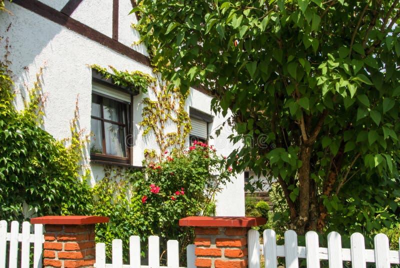 WALLDORF, DEUTSCHLAND - 4. JUNI 2017: Ein Garten mit blühenden Rosen nahe traditionellem deutschem weißem Haus stockfotografie