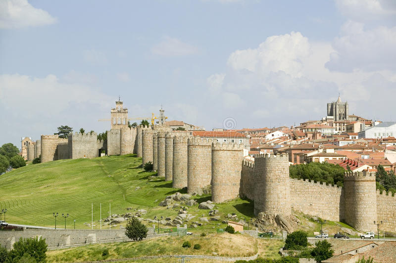 Walled city from 1000 A.D. surrounds Avila Spain, an old Castilian Spanish village stock images