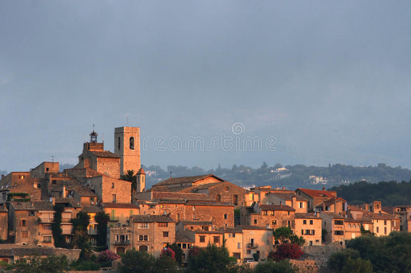 Download Walled Hilltop Village Lit By Sun's First Rays Stock Image - Image: 10364749