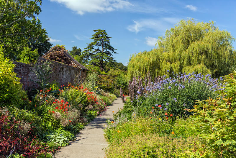 Walled trädgård, jordlappslott, Herefordshire, England arkivbilder