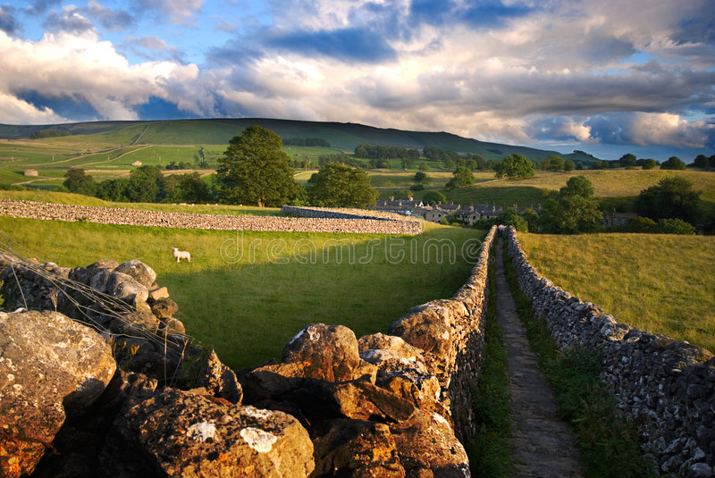 Walled Yorkshire path stock image