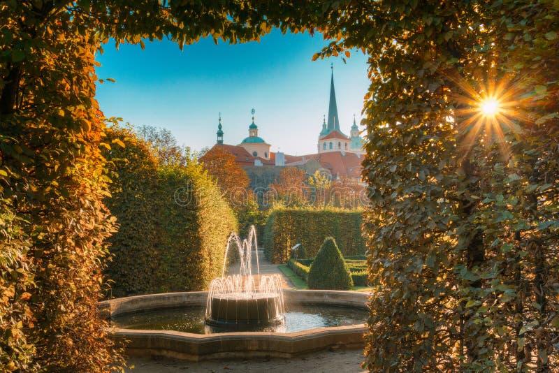 Wallenstein宫殿和庭院在布拉格,捷克共和国 库存图片