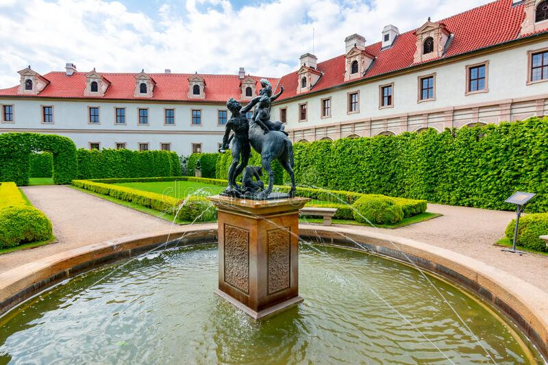 Wallenstein Palace and gardens in Mala Strana, Prague, Czech Republic. Prague, Czech Republic - May 2019: Wallenstein Palace and gardens in Mala Strana stock photography