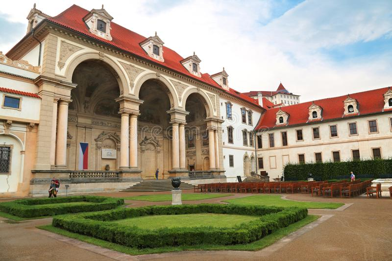 Wallenstein palace in Prague currently home of senate of the Czech Republic. Prague, Jun 10, 2018 - Wallenstein palace in Mala Strana, Prague which now houses stock images