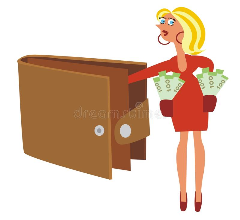 Wallet. Woman steals money from someone else's wallet.Illustration royalty free illustration