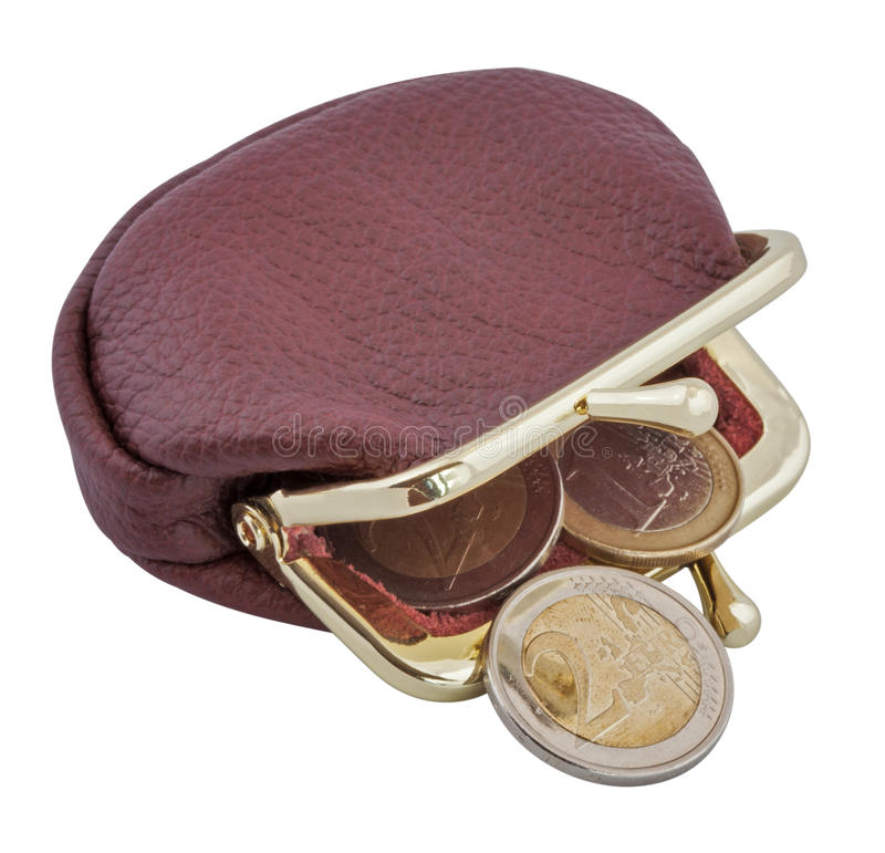 Wallet. And euro coins, isolated on white royalty free stock image
