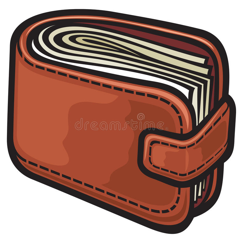 Wallet. Leather wallet with the money vector illustration