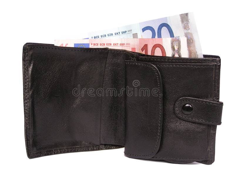 Wallet. Billfold with Euro banknotes royalty free stock photos