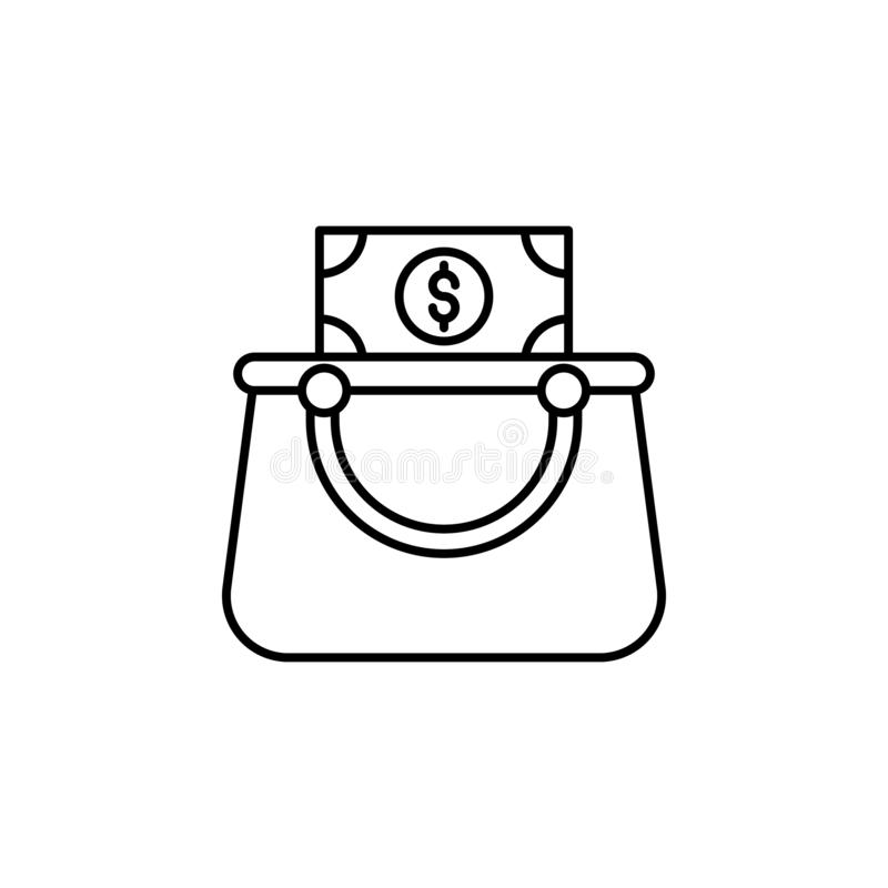 wallet, bag, dollar  icon. Simple thin line, outline vector of Saving money icons for UI and UX, website or mobile application vector illustration