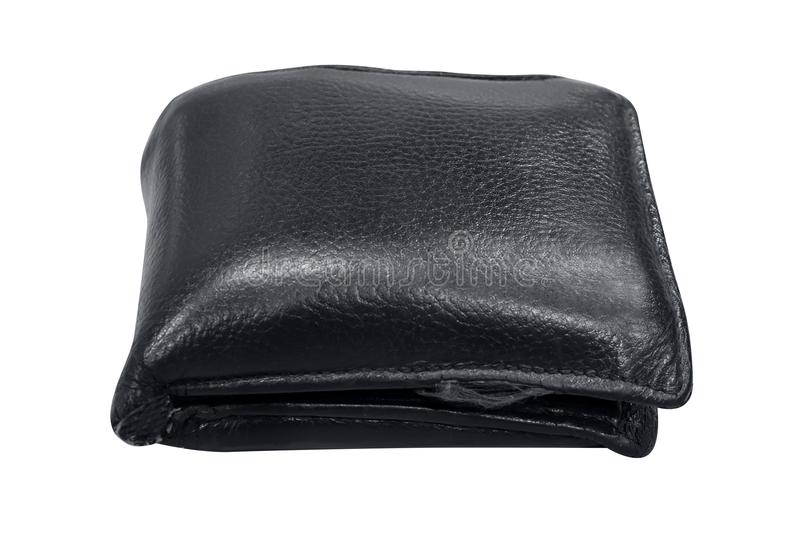 Wallet, billfold, black leather wallet isolated on white background, wallet full on white background selective focus. The wallet, billfold, black leather wallet stock photo