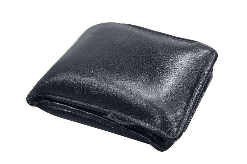 Wallet, billfold, black leather wallet isolated on white background, wallet full on white background selective focus. The wallet, billfold, black leather wallet royalty free stock photography