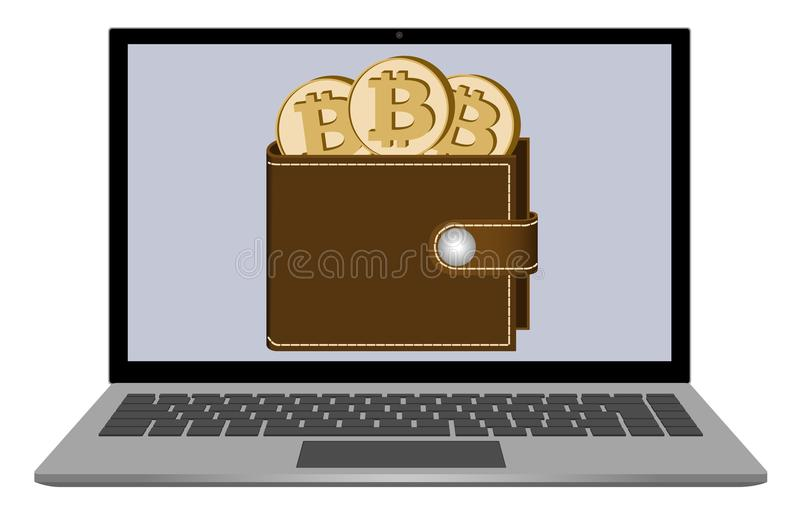Wallet with bitcoin coins on a laptop screen stock illustration