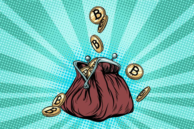 Wallet with bitcoin, crypto currency and electronic money vector illustration