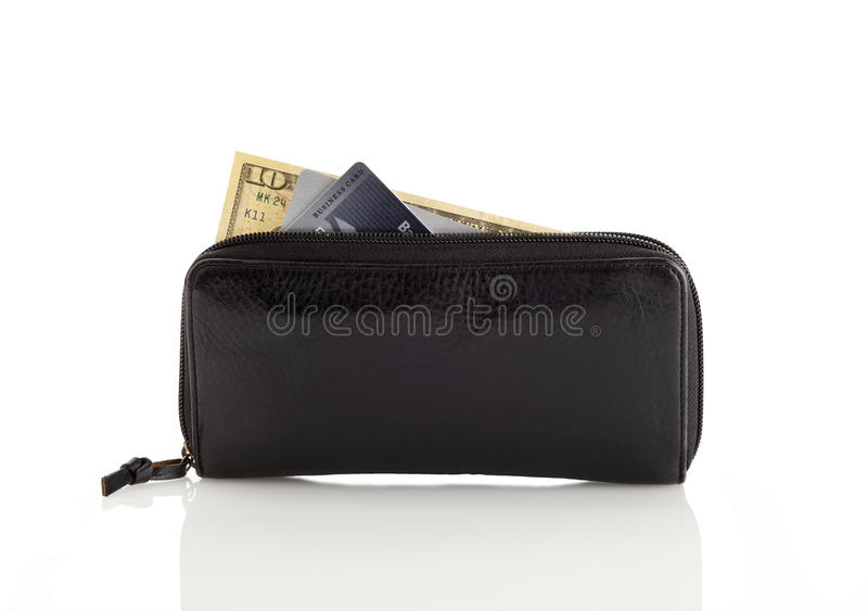 Wallet. A black wallet with some money and credit cards stock image
