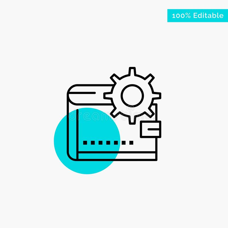 Wallet, Cash, Finance, Money, Personal, Purse, Making turquoise highlight circle point Vector icon stock illustration