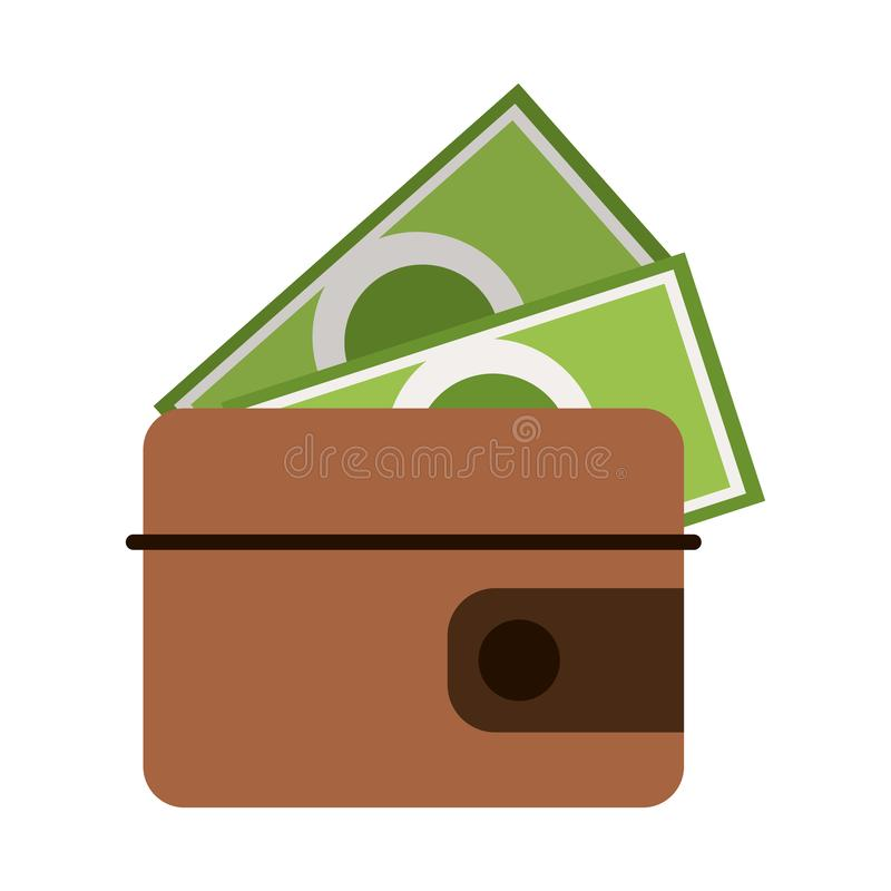 Wallet with cash symbol isolated stock illustration