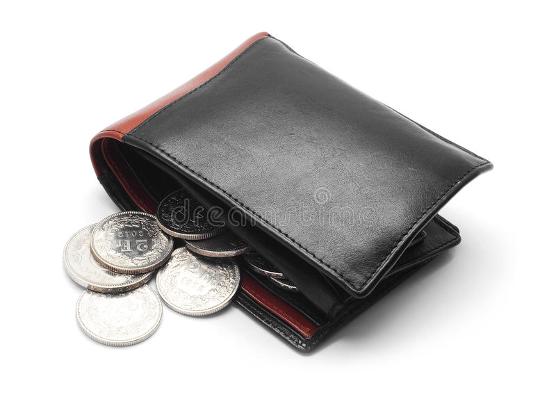 Wallet with coins. Wallet with metal coins isolated on white royalty free stock image