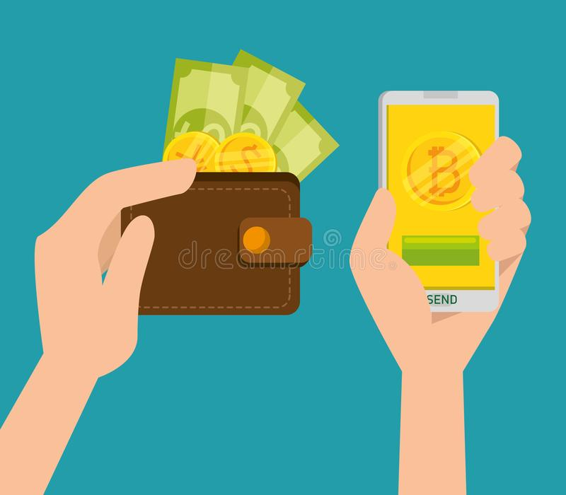 Wallet with coins and bills exchange virtual with bitcoin royalty free illustration