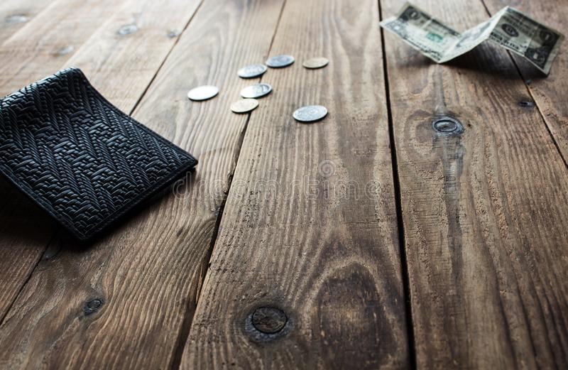 Wallet coins and dollar royalty free stock images