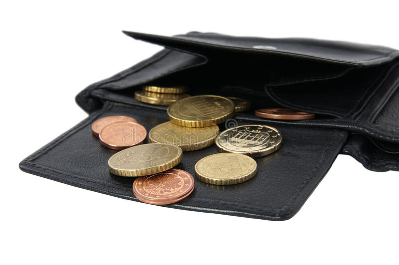 Wallet with coins royalty free stock photography