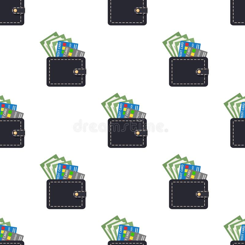 Wallet Credit Cards Banknotes Seamless stock illustration
