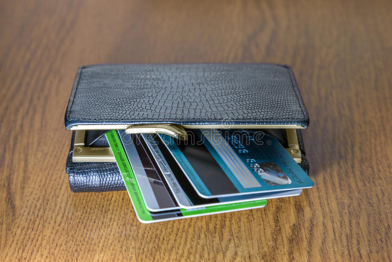 Wallet and credit cards stock image