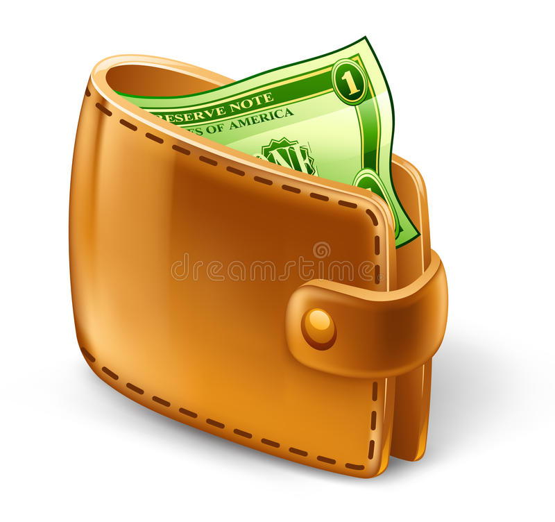 Wallet with dollar stock illustration