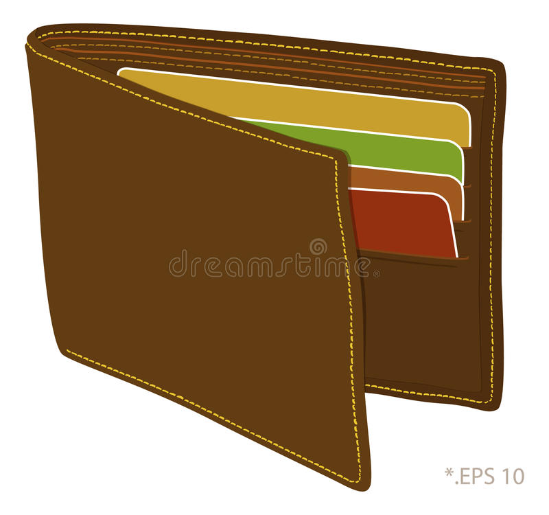 Wallet. For dollar, coin, card stock illustration