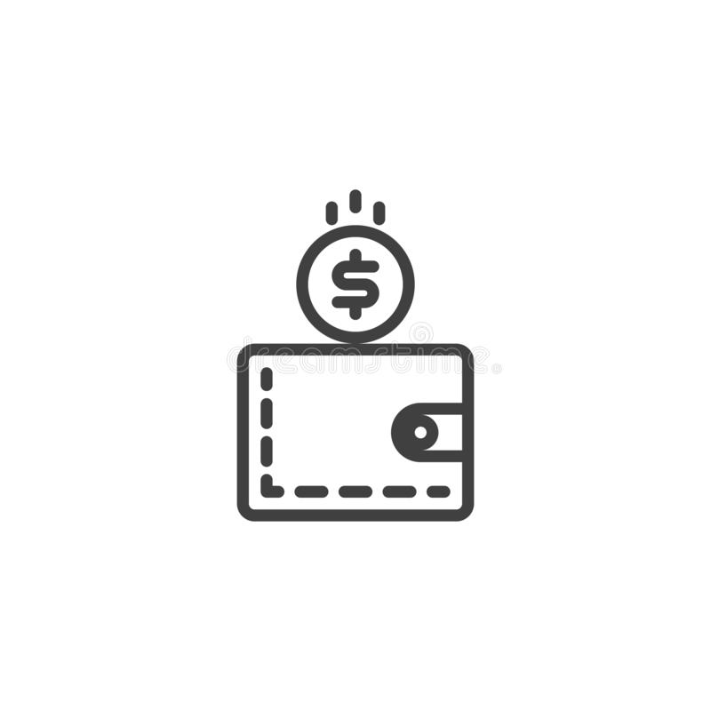 Wallet and dollar coin line icon stock illustration
