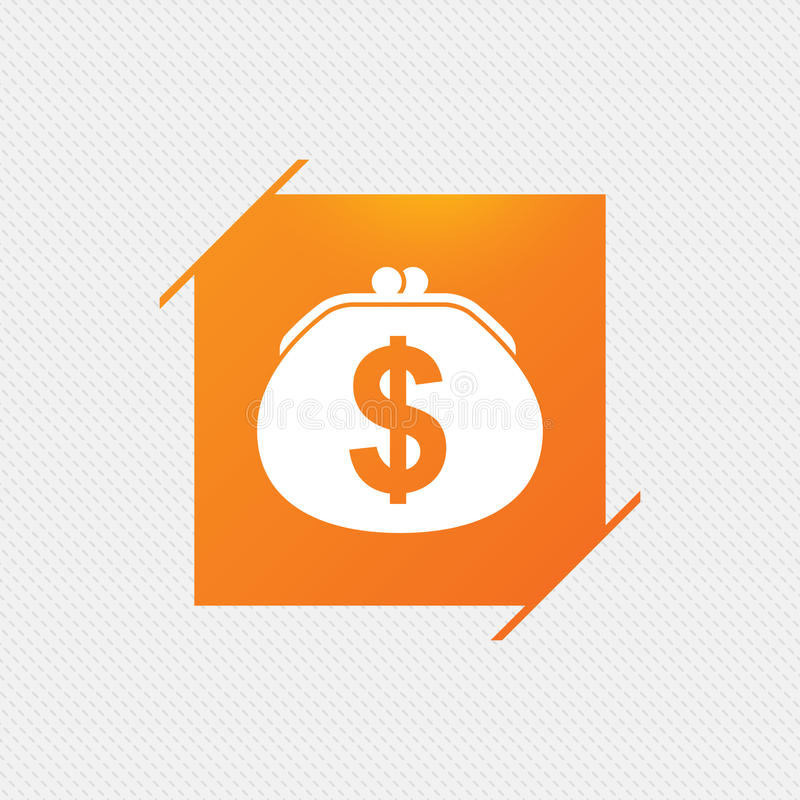 Wallet dollar sign icon. Cash bag symbol. stock illustration