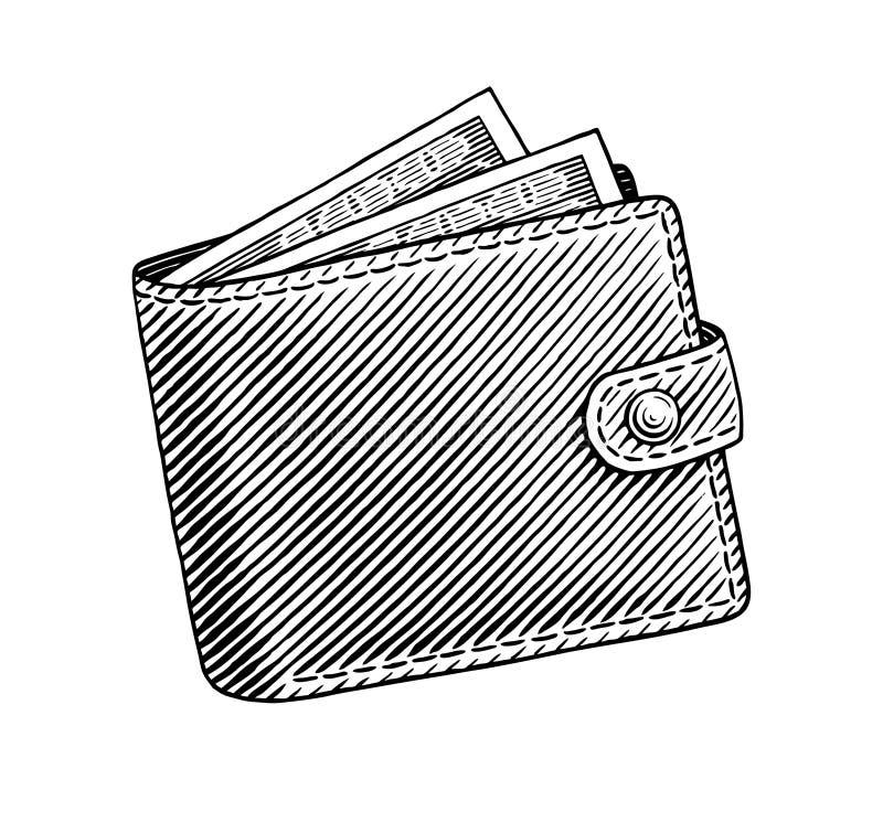 Wallet. Engraved illustration of wallet full of dollars vector illustration