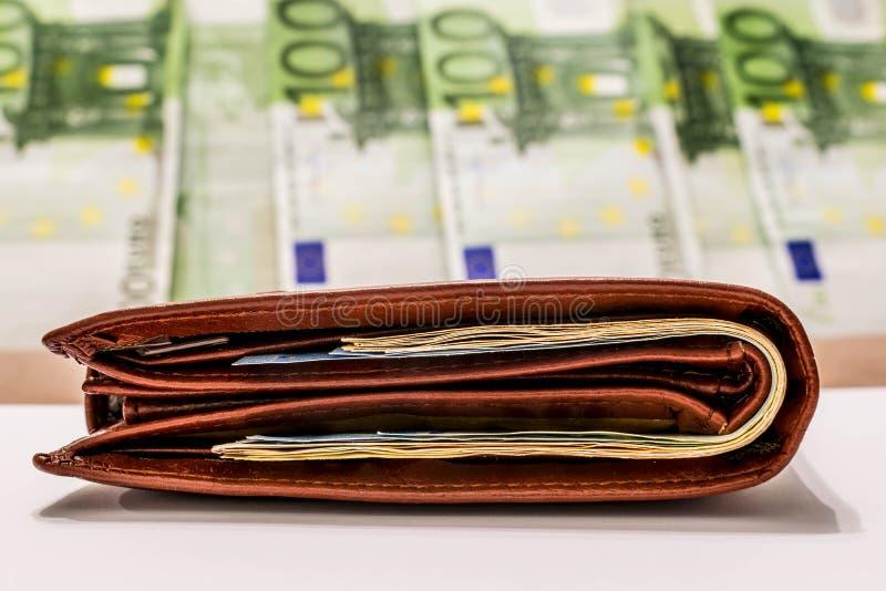 Wallet with euro banknotes. European Union money stock photos