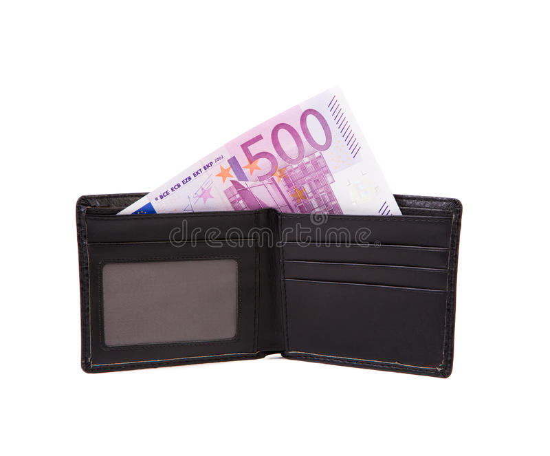 Wallet with euro banknotes. Wallet with five hundreds euro banknotes. Isolated on a white background stock photography