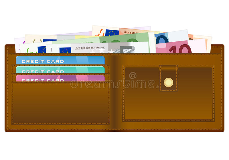 Wallet with euro banknotes vector illustration