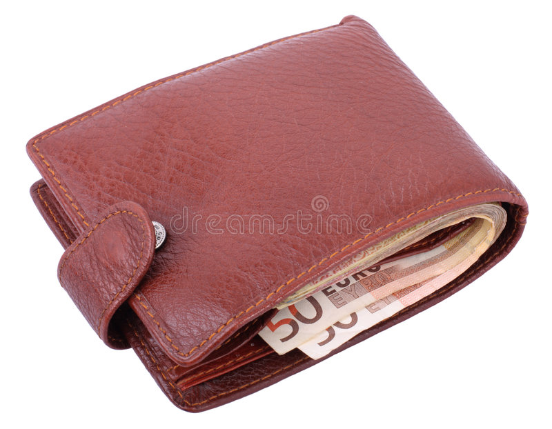 Wallet with euro isolated. Leather wallet isolated on white background royalty free stock photography