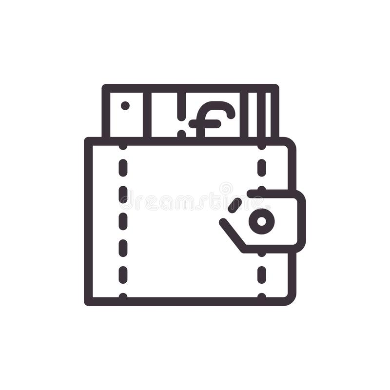 Wallet with euro vector line icon. Line illustration. vector illustration