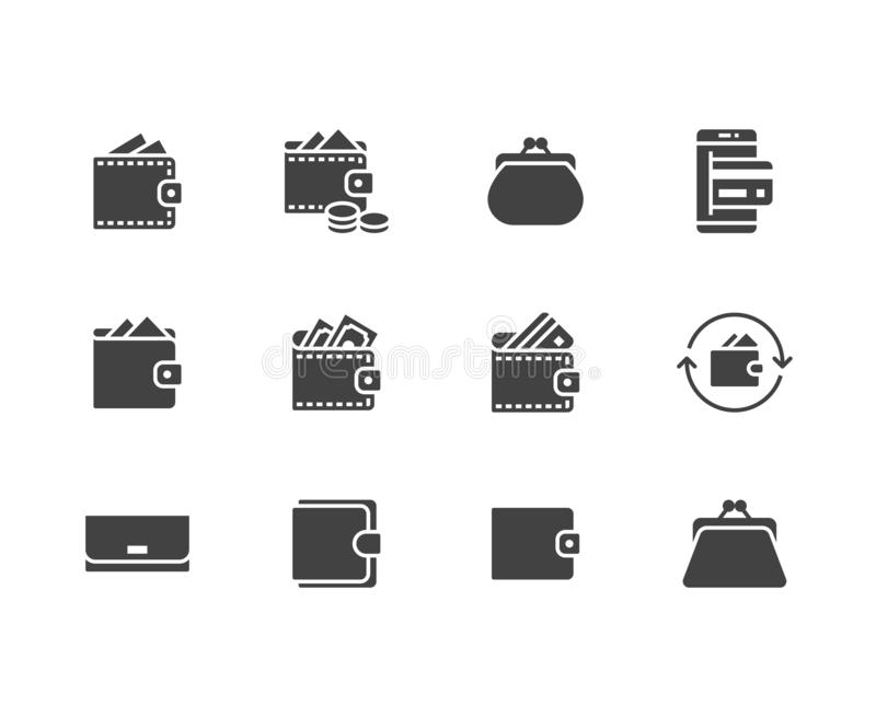 Wallet flat glyph icons set. Purse with money, coins, credit card, cashback, online payment vector illustrations royalty free illustration