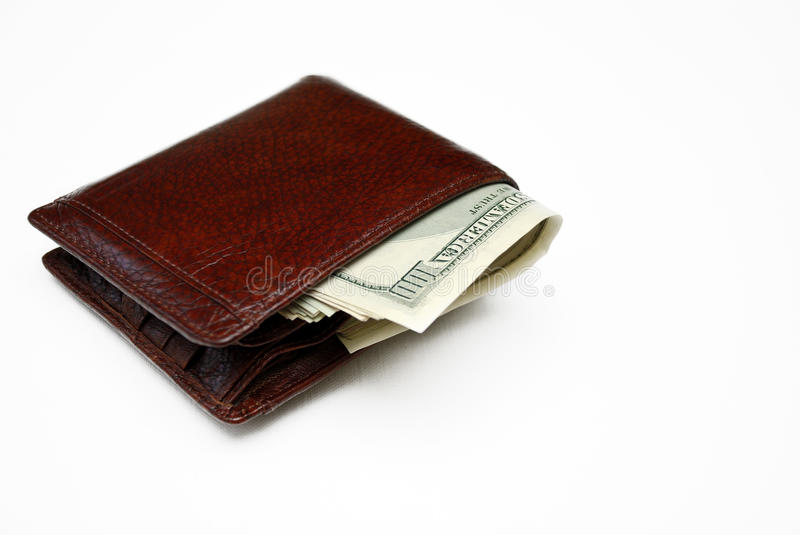 Wallet full of money. stock photography
