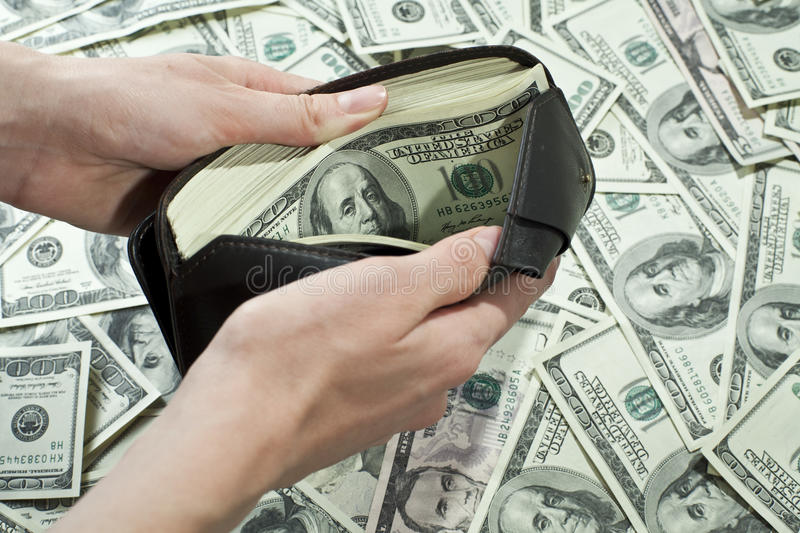 Wallet full of money royalty free stock image