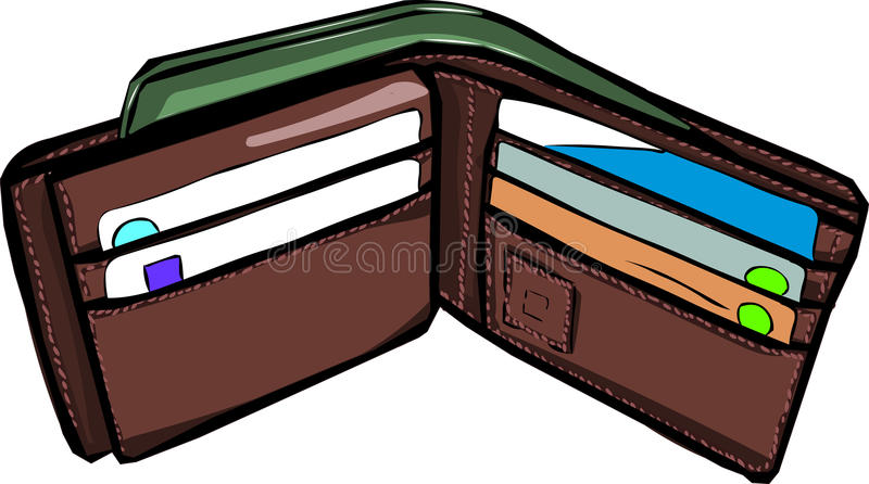 Wallet. Have a little money royalty free illustration